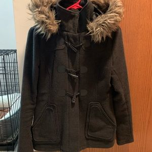 Pea coat with fur hood from PacSun